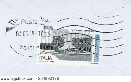 Rome, Italy - Circa January 2019: A Stamp Printed By Italy Showing Piazza Della Repubblica (meaning
