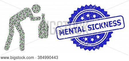 Mental Sickness Rubber Seal Print And Vector Recursive Mosaic Drunky Man. Blue Seal Has Mental Sickn