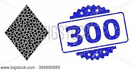 300 Textured Seal Print And Vector Recursion Collage Filled Rhombus. Blue Seal Includes 300 Title In