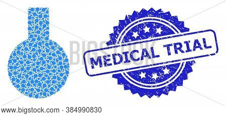 Medical Trial Corroded Seal Imitation And Vector Recursive Mosaic Glass Flask. Blue Seal Includes Me
