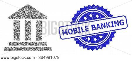 Mobile Banking Rubber Seal Imitation And Vector Recursion Collage Bank Building. Blue Seal Contains