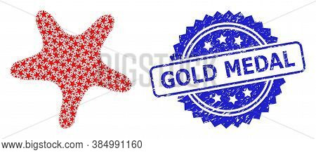 Gold Medal Grunge Stamp Seal And Vector Recursive Collage Bent Star. Blue Stamp Seal Contains Gold M