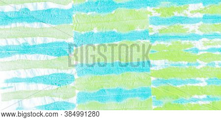 Mud Art. Tie Dye Mud Art Pattern. Handdrawn Scribble. Blue And Green Colors. Carelessly Spilled Pain