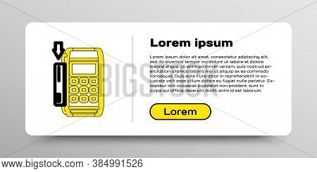 Line Pos Terminal With Inserted Credit Card Icon Isolated On White Background. Payment Terminal Tran