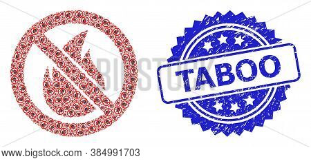 Taboo Grunge Stamp Seal And Vector Recursive Composition Forbidden Fire. Blue Stamp Includes Taboo T