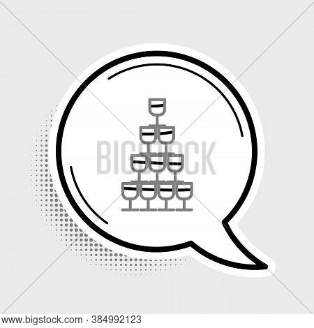 Line Wine Glasses Stacked In A Pyramid Tower Icon Isolated On Grey Background. Wineglass Sign. Color