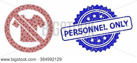Personnel Only Grunge Seal And Vector Fractal Mosaic Forbidden T-shirt Clothes. Blue Seal Contains P