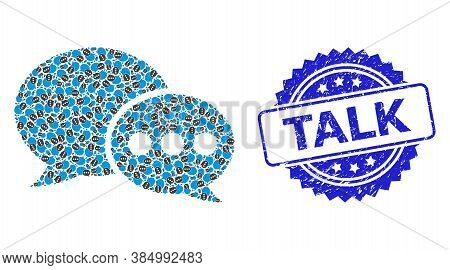 Talk Corroded Stamp And Vector Recursive Mosaic Forum Messages. Blue Stamp Has Talk Text Inside Rose