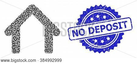 No Deposit Corroded Stamp And Vector Fractal Mosaic Garage. Blue Stamp Seal Includes No Deposit Text