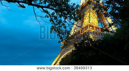 Eiffel Tower At Night. Paris, France.