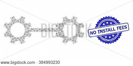 No Install Fees Scratched Stamp Seal And Vector Fractal Collage Gear Links. Blue Stamp Seal Contains