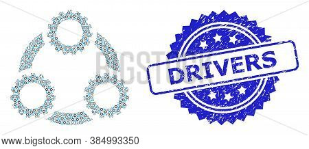 Drivers Corroded Seal And Vector Recursion Collage Gear Planetary Transmission. Blue Seal Has Driver
