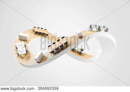 White Mobius Strip With Office Furniture Over White Background. Concept Of Corporate Life And Routin