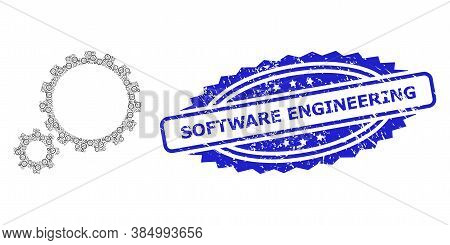Software Engineering Scratched Stamp Seal And Vector Fractal Mosaic Gear Transmission. Blue Seal Inc