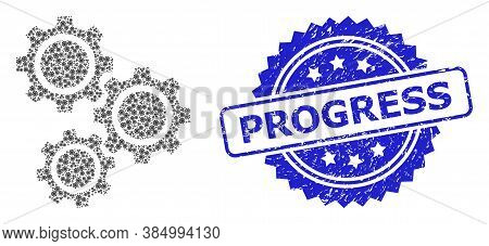 Progress Scratched Stamp Seal And Vector Recursive Mosaic Gears. Blue Stamp Seal Contains Progress T
