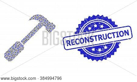 Reconstruction Rubber Seal And Vector Recursive Collage Hammer. Blue Stamp Seal Includes Reconstruct