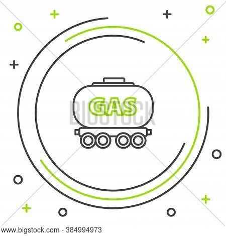 Line Gas Railway Cistern Icon Isolated On White Background. Train Gasoline Tank On Railway Car. Rail