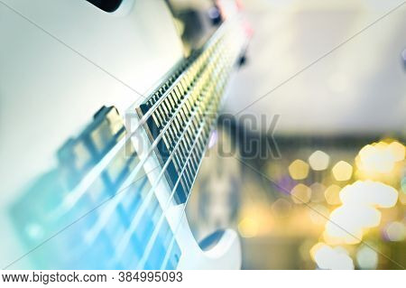 Close Up Of 5 Strings Electrical Bass Guitar