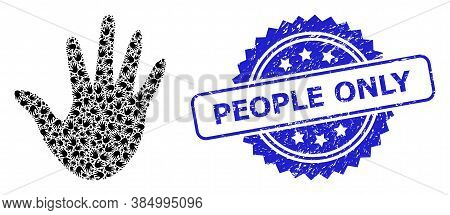 People Only Scratched Stamp Seal And Vector Recursive Collage Hand. Blue Stamp Seal Has People Only