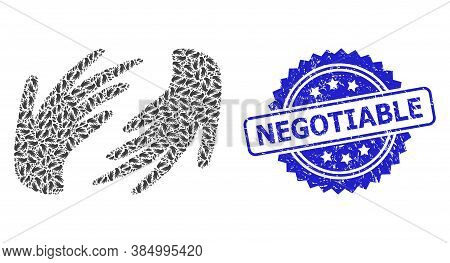 Negotiable Scratched Seal And Vector Fractal Collage Hands. Blue Seal Has Negotiable Tag Inside Rose