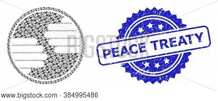 Peace Treaty Dirty Seal Imitation And Vector Recursive Collage Hands Circle. Blue Stamp Seal Contain