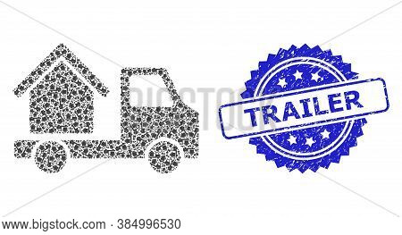 Trailer Dirty Stamp Seal And Vector Recursion Collage House Trailer. Blue Stamp Contains Trailer Tex