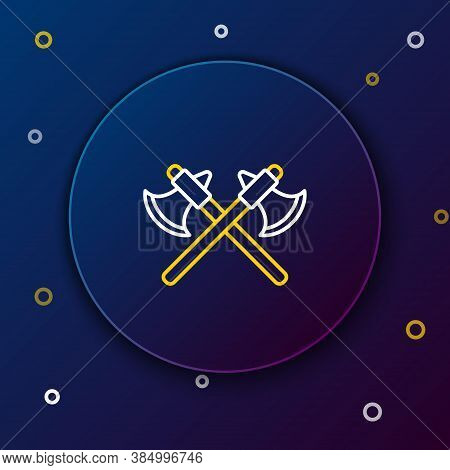 Line Crossed Medieval Axes Icon Isolated On Blue Background. Battle Axe, Executioner Axe. Colorful O