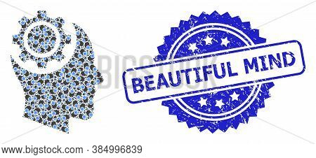 Beautiful Mind Corroded Seal Imitation And Vector Recursion Collage Human Intellect Gear. Blue Stamp