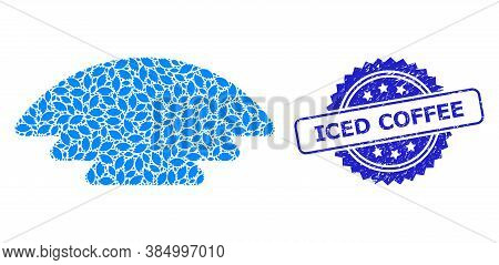 Iced Coffee Scratched Seal And Vector Recursion Mosaic Ice Hill. Blue Stamp Seal Includes Iced Coffe