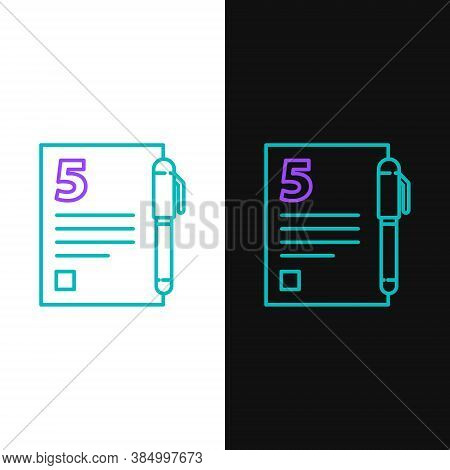 Line Test Or Exam Sheet And Pen Icon Isolated On White And Black Background. Test Paper, Exam Or Sur