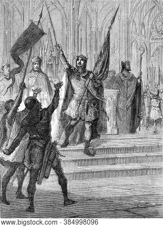 Louis the big taking the banner on the altar of Saint-Denis, Vintage engraving. From Popular France, 1869.
