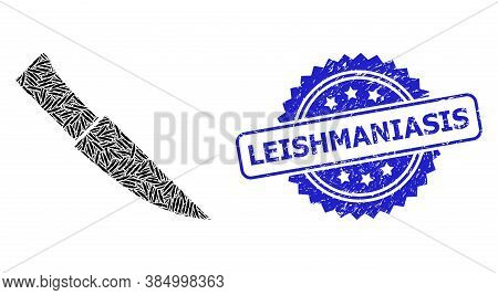 Leishmaniasis Dirty Stamp Seal And Vector Recursive Composition Knife. Blue Stamp Seal Includes Leis