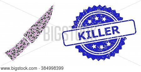 Killer Textured Seal Print And Vector Recursive Collage Knife. Blue Seal Contains Killer Title Insid