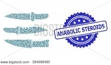 Anabolic Steroids Rubber Seal Imitation And Vector Recursion Mosaic Knives. Blue Stamp Seal Contains