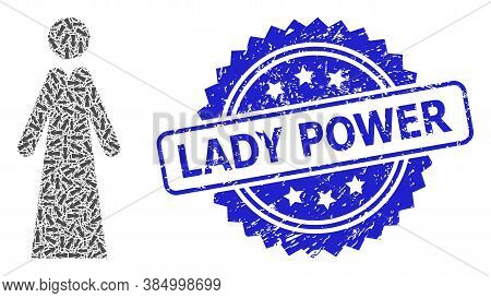Lady Power Unclean Seal Print And Vector Recursion Mosaic Lady. Blue Stamp Seal Contains Lady Power