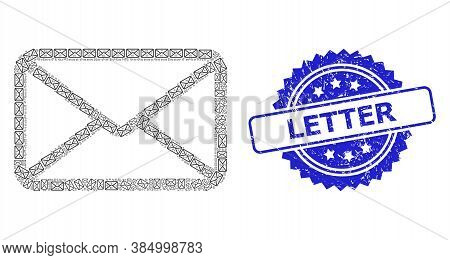 Letter Textured Seal Imitation And Vector Recursion Mosaic Letter. Blue Seal Includes Letter Title I