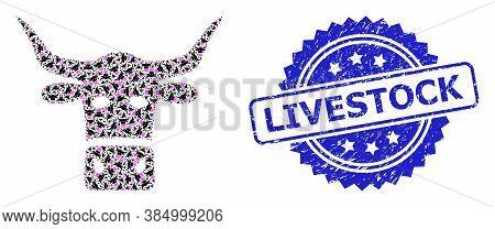 Livestock Scratched Stamp Seal And Vector Fractal Collage Livestock Head. Blue Stamp Seal Has Livest