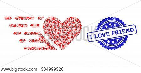 I Love Friend Unclean Seal Imitation And Vector Fractal Mosaic Love Heart. Blue Stamp Includes I Lov