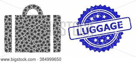 Luggage Textured Seal Imitation And Vector Fractal Mosaic Luggage. Blue Seal Includes Luggage Tag In