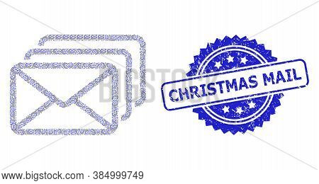 Christmas Mail Dirty Stamp Seal And Vector Recursion Mosaic Mail Queue. Blue Stamp Seal Has Christma