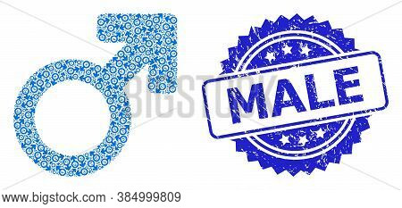 Male Rubber Seal Imitation And Vector Recursion Collage Male Symbol. Blue Seal Has Male Caption Insi