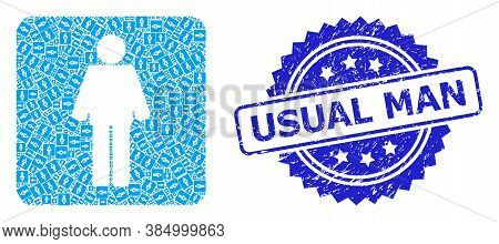 Usual Man Rubber Stamp And Vector Recursive Collage Man. Blue Stamp Has Usual Man Tag Inside Rosette