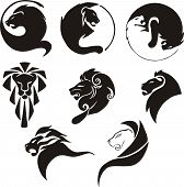Stylized black lions. Set of black and white vector illustrations. poster