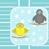 owl and a penguin on a tree under snowfall poster