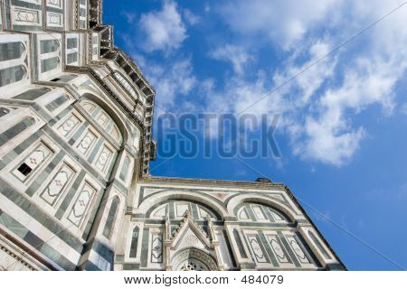 Florence Cathedral With Blue Sky And Clouds