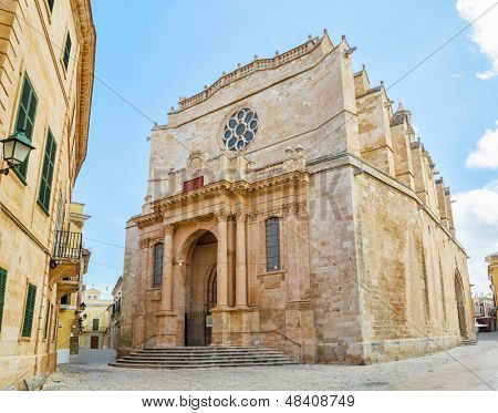 Old Santa Maria Cathedral at Ciutadella, Menorca island, Spain. It was being built between 1300 and 1362. The main facade in neo-classic style was constructed in 1813. poster