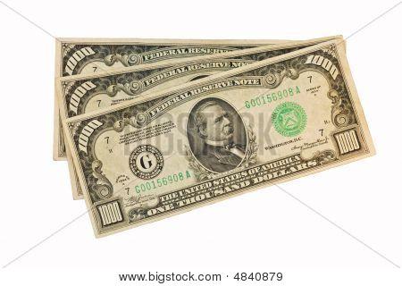 Three Old Thousand Dollar Bills
