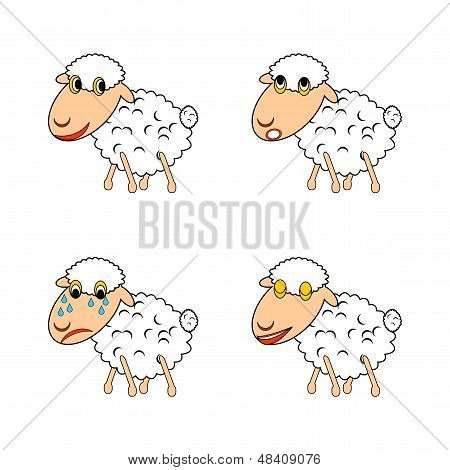 A funny sheep expressing different emotions. Vector-art illustration on a white background poster
