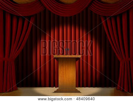 Podium in a spot light on stage over red curtains poster
