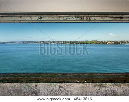 View through a historic military observation post on Auckland's North Head